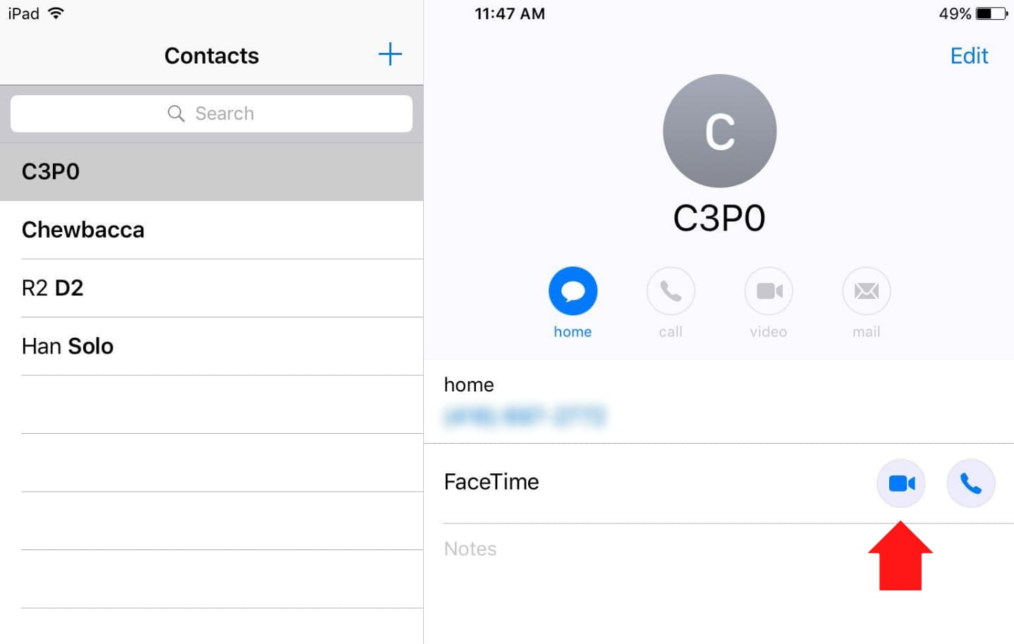Making FaceTime Call From Contacts